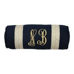 Monogrammed Navy Bolster Pillow With Greek Key Trim - This bolster is an elegant and fun way to add some monogrammed Greek key style to your bed or couch.