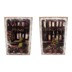 Pair of French Wine Bottles Printed Burlap Canvas Art - This matching pair of canvases adds a charming accent to your home, restaurant, or cafe. Each one depicts a shop window, displaying rows of quality French wine and colorful flowers. Though they are prints, they appear to have been painted on burlap for an artistic shabby chic effect. Each measures 23 1/2 inches tall, 15 3/4 inches wide, 1 inches deep and mounts to the wall with a single nail or screw.