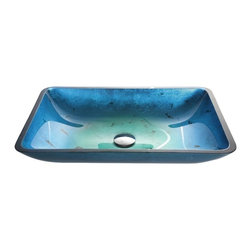 Kraus - Irruption Blue Rectangular Glass Sink - Pop Up Drain & Mounting Ring Not Included