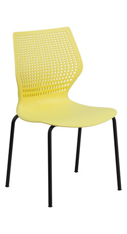 Flash Furniture - 770 Lb. Capacity Designer Yellow Stack Chair with Black Frame - This multi-purpose stack chair fits in a multitude of environments. This chair will make a great Froyo chair. The deeply curved back provides excellent comfort to your lumbar area while also providing airflow. No matter what the function this multi-use chair will bring out the best in your event.