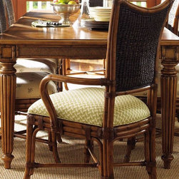 Tommy Bahama Home - Grenadine Rectangular Dining Table - Chairs not included. Sliced  bamboo top in diagonal patchwork pattern. Walnut inlay. Woven cane. Bottom of apron to floor 25.5 in. H. Extends up to 112.75 in. L with two 20 in. leaves. Warranty: One year. Made from maple veneers and select hardwood solids. Lightly distressed warm umber finish. 72.75 in. L x 44 in. W x 30 in. H (250 lbs.). Special Care Instruction from Lexington FurnitureIsland Estate lends inspiration to tropical design through a rich blending of natural materials, textures and exciting new finish colors. Designs for the whole home encompass an eclectic mix of British Plantation and refined Caribbean styling, with a playful dose of exotic island fun. Wherever the locale, Island Estate embodies a lifestyles that is elegant and refined, yet casual and cool.
