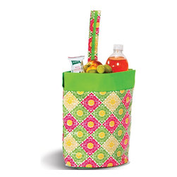 """Picnic Plus - Razz Lunch Tote, Green Gazebo - Take along your lunch in our innovative and unique Picnic Plus Razz lunch tote. With an easy clean PEVA leak proof interior lining, full zipper closure, and wristlet design carry handle makes bringing lunch to work or school a breeze. Just the right size to accommodate your beverage, sandwich, yogurt, fruit and snacks. Insulated lining will maintain food and beverage temperature while the exterior has an easy wipe clean laminated finish. Hidden pocket makes monogramming simple without damaging the lunch bag. No more brown bagging it, be eco conscious by taking along our Razz Lunch bag. Patent Pending; Adorable easy clean insulated wristlet lunch tote from Picnic Plus;Country of Origin: China;Weight: 1 lbs;Dimensions: 10""""W x 4 1/2""""D x 11""""H"""