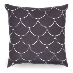 Japiko Subha Pillow - Black and White - A pillow that eschews plain. The Japiko Subha Pillow - Black and White boasts a distinctive pattern influenced by fine Japanese textiles. The beaded scallop-shape design is applied using dimensional paint, creating a textural appeal that is a pleasing addition to a cozy chaise, a luxurious sofa, or a well-placed window seat.