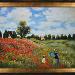 overstockArt.com - Monet - Poppy Field in Argenteuil Oil Painting Oil Painting - Add a splash of color to your home with a hand recreated oil painting of Monet's Poppy Field in Argenteuil. Originally painted in 1873, this famous painting depicts Monet's wife Camille and their son taking an afternoon stroll in this famous field right outside of Paris. Wildly colorful, the reds of the poppies create a beautiful contrast with the whites and blues of the sky. Brighten up a room with this beautiful painting, and choose one of our museum-quality frames to give it an extra classic look in your home. You'll be happy you chose this over a print! Detail for detail, it looks almost exactly like the original. Your guests will love your new colorful edition!