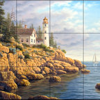 The Tile Mural Store (USA) - Tile Mural - Safe Harbor Ii  - Kitchen Backsplash Ideas - This beautiful artwork by Judy Gibson has been digitally reproduced for tiles and depicts a lighhouse scene.  Our lighthouse tile murals and nautical themed decorative tiles are perfect as part of your kitchen backsplash tile project or your tub and shower surround bathroom tile project. Lighthouse images on tiles add a unique element to your tiling project and are a great kitchen backsplash idea. Use a lighthouse scene tile mural for a wall tile project in any room in your home where you want to add interest to a plain field of wall tile.
