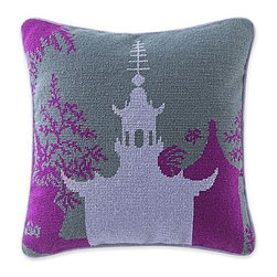 Happy Chic by Jonathan Adler Chloe 14-Inch Square Pagoda Decorative Pillow - This needlepoint pagoda pillow by Jonathan Adler comes at a great price.