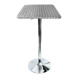 Lumisource - Bistro Adjustable Bar Table with Square Top - A decorative swirl pattern on a square stainless steel top gives the Bistro Bar Table a quiet refinement. A hydraulic lever allows the table top to adjust from 26 to 41 inches height. Add a chrome base and you have a table perfect for smaller kitchens, dining areas or any bar.