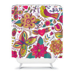 Shower Curtain Flower Pink Lime Turquoise 71x74 Bathroom Decor Made in the USA - DETAILS: