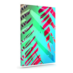 """Kess InHouse - Alison Coxon """"Cool Tropical"""" Blue Green Wrapped Art Canvas (20"""" x 16"""") - Bring your outdoor patio to life with this artistic outdoor canvas wrap featuring gorgeous artwork by KESS InHouse. These canvases are not only easy to hang and remove but also are the perfect addition to your patio collection. These canvases are stretched around a wooden frame and are built to withstand the elements and still look artistically fabulous. Decorating your patio and walls with these prints will add the splash of art and color that is needed to bring your patio collection together! With so many size options and artwork to choose from, there is no way to go wrong with these KESS Canvas Wraps!"""