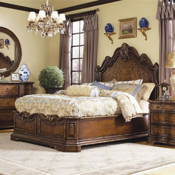 Hooker Furniture - Beladora 3 Pc Platform Bedroom Set (Queen) - Choose Size: QueenIncludes bed, nightstand and dresser. Mirror not included. Dresser with nine drawers. Drop-front on top center drawer. Nightstand with three drawers. Made from hardwood solids with maple, olive ash burl and walnut veneers with resin accents. Caramel finish with gold tipping. Queen: 92 in. L x 67.75 in. W x 75.25 in. H. King: 92 in. L x 82.25 in. W x 75.25 in. H. California King: 96 in. L x 79 in. W x 75.25 in. H. Nightstand mid and bottom drawer (max width): 14.50 in.. Nightstand mid and bottom drawer (min width): 23.88 in. L x 13.50 in. W x 6.13 in. H. Nightstand top drawer (max width): 14.50 in.. Nightstand top drawer (min width):  23.88 in. L x 13.50 in. W x 3.56 in. H. Nightstand overall: 36 in. W x 19 in. D x 30 in. H. Dresser center 2nd and 3rd row drawers (max width): 16.31 in.. Dresser center 2nd and 3rd row drawers (min width): 19.44 in. L x 14.81 in. W x 7.88 in. H. Dresser side bottom drawers (max width): 18.88 in.. Dresser side bottom drawers (min width): 19.56 in. L x 15.13 in. W x 7.88 in. H. Dresser side top drawers (max width): 18.88 in.. Dresser side top drawers (min width): 19.56 in. L x 15.13 in. W x 6.94 in. H. Dresser top center drawer: 18.88 in. L x 14.75 in. W x 7.88 in. H. Dresser overall: 78 in. W x 23 in. D x 38 in. H. Bed Assembly Instructions. Dresser Assembly InstructionsThe 70-piece Beladora collection of bedroom, dining, living room tables, home office and home entertainment furniture is the epitome of the grand European elegance many are looking for. Enrich you surroundings with the grand European elegance of Beladora. If you appreciate traditional forms, exquisite shapes, graceful curves and artistic hand work, the Beladora office collection by Hooker Furniture will inspire you as you work in your personal office space. The collection is dramatic and graciously scaled with maple and olive ash burl veneers accented by distinctive walnut inlays. Beladora pays homage to costly Old World antiques and showcases its exceptional design with a refined caramel finish with subtle gold tipping to accent the carving, chiseling and marquetry work all done by the hands of skilled craftsmen.