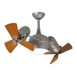 "Matthews Fan Company - Matthews Fan Company DGLK-BN-WD Dagny LK 41"" Dual Rotational Ceiling Fan with 3 - Matthews Fan Company DGLK-BN-WD Atlas Dagny 41"" Dual Rotational Ceiling Fan with Hand-Held Remote and Wood BladesThe double-headed rotational ceiling fan, Dagny, with cylindrical central housing and straight, parallel arms, is designed in the retrospective aesthetic. The Dagny offers fluid lines and quiet axial rotation. The motor heads can be infinitely positioned in 180-degree arcs for optimum air movement; the greater the angles of the motors to the horizontal support rods (up or down), the faster the axial rotation. A slow, controlled axial rotation is achieved by both motor head position and fan blade speed. Matthews rotational fans circulate heat and air-conditioning more efficiently than traditional paddle fans.Matthews Fan Company DGLK-BN-WD Features:"