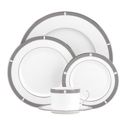 Lenox - Silver Sophisticate 5-piece Place Setting - As stylish as silver jewelry,this tailored dinnerware pattern is bordered in a textured weave design that resembles a silver mesh.
