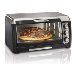 Hamilton Beach - Convection Toaster Oven - Cook faster and enjoy the spare time.Hamilton Beach Convection Toaster Ovens offer the convenience of an oven and the speed of convection cooking in one convenient appliance. You 'll save lots of cooking time -- the convection mode in this toaster oven cooks food up to 25% faster by circulating heated air evenly around food as it cooks.Hamilton Beach Convection Toaster Ovens are versatile and have all the traditional settings you look for in a countertop toaster oven, including toast, bake, and broil settings. And at the end of cooking, the cooking timer alerts you and turns the convection toaster oven off automatically. When it 's time for cleanup, the interior wipes down fast and the crumb tray is removable. Designed for easy accessLarge, curved glass door and auto-advance rack improve access to foodConvection cooks food more evenlyToast, bake & broil settingsFits a large 12 inch pizzaSaves time & energy:  Reheats food 28% faster, Uses 71% less energyFits 6 slices of bread30 minute timer with ready bellBake pan and broil rack includedRemovable slide-out crumb tray