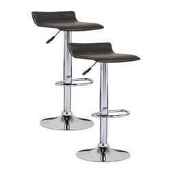 Leick Furniture - Leick Furniture Adjustable Height Swivel Stool in Black (Set of 2) - Leick Furniture - Bar Stools - 10042BL - The Leick Black Adjustable Height Swivel Stool comes in a set of 2 with a heavy duty steel cylinder offer smooth and reliable seat height adjustment. A versatile seat for counter height bar height or anything in between. Full swivel seats and sturdy footrests deliver comfort in this bold chrome and faux leather beauty.