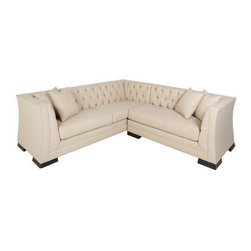 Pre-owned Mid-Century Style Sectional Sofa - Casanova Beige - Blending classic elegance with modern style, this Mid-Century style sofa features a straight frame with firm foam cushioning wrapped in Marlow Burlap upholstery. Finished with deep button tufting, you're sure to fall in love with this Casanova sectional sofa. This is a new item.     Package includes: Sofa, chaise, eight (8) legs, four (4) 18x18 pillows  Materials: Spring ,polyester, stainless steel legs, alder wood, poly fiber    Sofa dimensions: 91 inches long x 34 inches deep x 30 inches high  Chaise: 59 inches long x 34 inches deep x 30 inches high