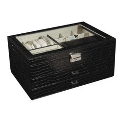 Grandin Road - Alana Glass-top Locking Jewelry Box - Faux-croc leather exterior. Padded watch cushions and ring rolls. Top drawer with 12 equally-divided sections. Bottom drawer with 6 lengthwise sections. Silver-tone closure, key, and hardware. Steeped in chic, our spacious Alana Glass-top Locking Jewelry Box stores your treasures within an array of suede-lined storage. Two drawers, a top shelf, and a removable travel case ensure all your valuables receive five-star accommodations, home or away.  .  .  .  .  .