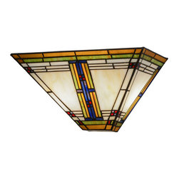 """Meyda - 14.5""""W Nevada Wall Sconce - This authentic mission craftsman wall sconce featuresa dramatic grid design of green and purple/blue withred. This shade was created with high quality artglass, which was copperfoiled and hand-set by meyda'sexpert artisans. Vibrant mission colors include acloudy beige background and honey border with accentsof red and purple/blue. Bulb type: cndl bulb quantity: 2 bulb wattage: 60"""