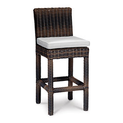 Thos. Baker - Outdoor Wicker Bar Stool | Hampton Java Collection - Our most popular oversized wicker collection is now available in a rich java color weave. Premium, dyed-through resin wicker with an extra large diameter profile. Tempered glass tops. Powder-coated aluminum subframes.Plush Sunbrella cushion sets included where applicable. Choose quick ship in khaki with cocoa piping, stone green or choose from our made-to-order fabric options.Made-to-order cushion sales are final and ship in 2-3 weeks.