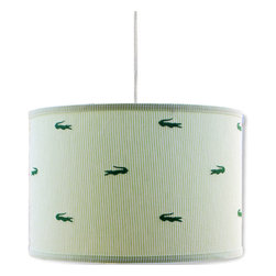"Doodlefish - Seersucker Alligator Hanging Shade - Green on green seersucker with embroidered alligators adorn this fun hanging shade pendant. The light is 16""d by 13""tall. It comes with a sleek white  pluggable cord that measures 18' in length. Our pendants are hand made in America and are UL Listed.   This pendant uses one 40 watt or less bulb that is not included."