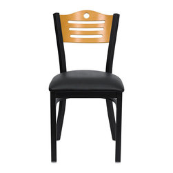 Flash Furniture - Flash Furniture Hercules Series Black Slat Back Metal Chair in Natural - Flash furniture - Dining chairs - XUDG6G7BSLATBLKVGG - Provide your customers with the ultimate dining experience by offering great food service and attractive furnishings. This heavy duty commercial metal chair is ideal for restaurants hotels bars lounges and in the home. Whether you are setting up a new facility or in need of a upgrade this attractive chair will complement any environment. This metal chair is lightweight and will make it easy to move around. For added comfort this chair is comfortably padded in vinyl upholstery. This easy to clean chair will complement any environment to fill the void in your decor. [XU-DG-6G7B-SLAT-BLKV-GG]