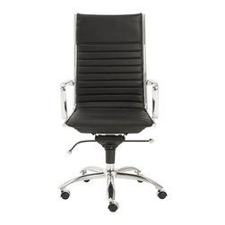 Eurostyle - Dirk High Back Office Chair-Black/Chrome - Leatherette over foam seat and back