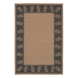 Couristan - Recife Tropics Cocoa and Black Rectangular: 5 ft. 3 in. x 7 ft. 6 in. Rug - -Construction: Power-Loomed  -Material: Fiber-Enhanced Polypropylene  -Indoor Outdoor Couristan - 11772500053076T