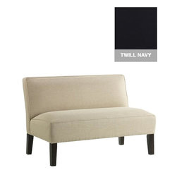 Home Decorators Collection - Custom Dodson Upholstered Loveseat - The sleek design of our Dodson Upholstered Loveseat is accented by custom upholstery and espresso-finish legs. Choose from a wide range of beautiful, top-quality fabric options to create a piece that you are sure to love. Legs in espresso finish. Assembled to order in the USA and delivered in 4-6 weeks. Spot clean only.