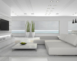 German Shades - These Double Roller shades from Fenstermann provide a stylish touch to this ultra modern home.