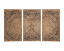 Benzara - Traditional and Modern Inspired Classic Set of 3 Wood Wall Panel Home Decor - Traditional and modern inspired classic set of 3 wood wall panel living dining and family room home accent decor