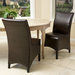 None - Gilmore Brown Leather Dining Chairs (Set of 2) - Add a sense of grandeur to any dining room simply with the addition of the Gilmore brown leather dining chairs.