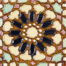 "Glass Tile Oasis - Eneco 6"" x 6"" Brown 6"" x 6"" Deco Tiles Glossy Ceramic - All ceramic tiles are hand painted. Glazed thickness will vary from tile to tile, resulting in color variation. Hand-Painted Ceramic tiles will craze and crackle over time, which is intentional and a desired effect."