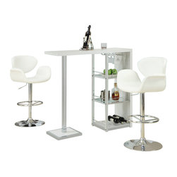 Monarch Specialties - Monarch Specialties 2343 3-Piece Glossy White Bar Table Set with 2319 Barstools - This stylish and contemporary bar table encompasses a cool feel ideal for entertaining your guests. This piece features a spot to hang individual glasses, a top surface ideal for making cocktails, and two glass shelves that are perfect to stock all of your bar essentials and one with a convenient wine rack. The polished glossy white surfaces and chrome metal accents complete the look of this unit, making it a must-have item.