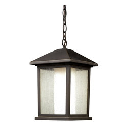 Z-Lite - Z-Lite 524CHB Mesa 1 Light Outdoor Lamps in Oil Rubbed Bronze - This chain hung outdoor fixture is unique because of its duel-layered construction that gives it a stylish, modern look. The outer glass shell is clear beveled glass, while the inner glass is a matte opal, which creates an inviting warm glow. To complete the look, this outdoor fixture is finished in black, and is made of cast aluminum.