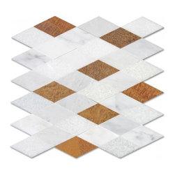 Corus stone mosaic - Corus stone mosaic Diamond shape in mix colors mesh mounted.