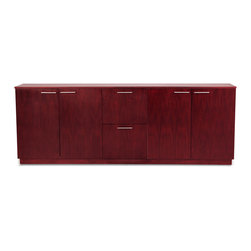 Zuri Furniture - Reagan Polished Mahogany Filing Cabinet - The Reagan modern filing cabinet offers a stylish storage solution perfect for the contemporary office space. Boasting ample hidden storage space including 2 large drawers and 2 large cabinets in a rich dark mahogany wood grain finish, the Reagan filing cabinet will stand alone or matched with the elegant Reagan executive desk.