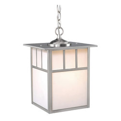 Vaxcel - Mission Stainless Steel Outdoor Hanging Lantern - Vaxcel OD14696ST Mission Stainless Steel Outdoor Hanging Lantern