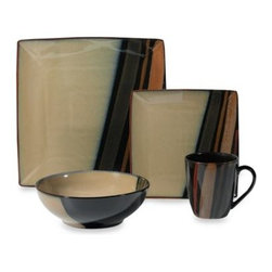 Sango - Sango Avanti Black 16-Piece Dinnerware Set - This modern dinnerware comes alive on your table with square and round shapes highlighting inviting earth tones. The stoneware pieces are enhanced with a gorgeous hand-brushed reactive glaze that gives each piece a striking presence on your table.