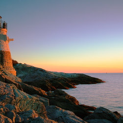 PrintedArt - Evening light at Castle Hill Lighthouse - Print is made with archival pigment inks for best color saturation and contrast with a 75-year guarantee against fading or discoloring. Mounted on light-weight but rigid aluminum dibond board to create a float-on-the-wall piece of art. Also available face-mounted with acrylic.