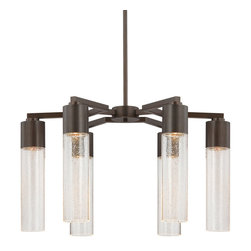 George Kovacs - Light Rain Chandelier - Light Rain chandelier features clear seeded glass and a sable bronze patina finish. Available in a mini pendant, wall sconce, 6 light island suspension and 6 light chandelier version. Six 35 watt, 120 volt, MR16 GU10 base halogen lamps not included. General light distribution. 24 inch diameter x 13.25 inch height.
