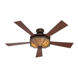 Hunter 21978 1912 Mission 54 in. Indoor Ceiling Fan with Light - Bronze - Illuminate, control temperature, and add style to your home with the Hunter 21978 1912 Mission 54 in. Indoor Ceiling Fan with Light - Bronze. The motor housing of this ceiling fan has a bronze finish and powerful, energy-efficient motor. Whisper-quiet performance comes from the five perfectly balance blades finished in dark cherry that reverses to dark walnut. The amber scavo glass shade is highlighted by a classic mission design. This fan and light combination has an easy on/off pull chain that makes it a breeze to use.About Hunter FanHunter Fan traces its origins back to 1886 when John Hunter and his son, James Hunter, maked the first water-driven celling fan in upstate New York. Today the company blends 19th century craftsmanship with innovative designs and technology to make fans of unmatched quality, style, and performance. Hunter Fans now has offices in three countries and retail outlets around the world. Hunter Fans offers style, comfort, and health for you and your family. Their fans are handcrafted from the finest materials to last a lifetime. Hunter ceiling fans function perfectly and always deliver proven performance. They also offers air purifiers and humidifiers to make a truly healthy environment for your family. Hunter fans are as beautiful as they are whisper-quiet and efficient.