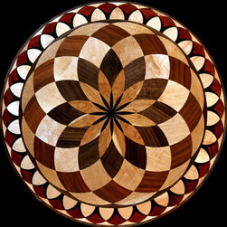 Wood floor inlaid designs/medallions - Our floor / wall art collection, features solid inlaid design with ingrained 3D shading, relief carvings and stone.  Our designs can be sanded and finished in future without harming these features.