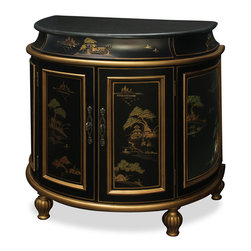 "China Furniture and Arts - French Commode Vanity Cabinet - Exotic gold highlighted Chinese landscape scenery is hand-painted in Chinoiserie motif on our French-inspired cabinet. Emphasizing a rich style that changes everyday living into art, the visual beauty is further enhanced with a sleek black granite top. Plenty of interior space allows for adequate storage. The lower interior compartment measures 18.25""W x 17.5""D x 3.25""H, and the drawer has interior dimensions of 32.5""W x 9""D x 23.5""H. Please see matching mirror Part No. MMI04YBM-WG."