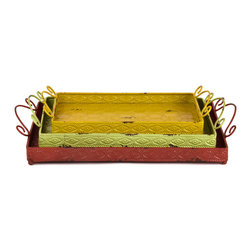 """Traders and Company - Faux Distressed Metal Serving Trays w/Handles, Set of 3 - Lg = 18""""Lx12""""Wx1.75""""H - Brightly colored & whimsically faux distressed metalware inspired by 1950's designs. Hand-applied finish with an antiqued retro look. Alternate shapes & styles sold separately. Dimensions : Lg = 18""""Lx12""""Wx1.75""""H, Md = 16""""Lx9.75""""Wx1.75""""H, Sm = 14""""Lx8""""Wx1.75""""H"""