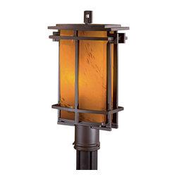 Minka Lavery - Minka Lavery Outdoor 72016-A615B-PL Lugarno Square Dorian Bronze Post Mount - Amber Art Glass Shade