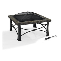 Crosley Furniture - Firestone Square Slate Firepit in Black - Oversized Bowl for Longer and Warmer Fires. 360 View of Fire. Sturdy Steel Construction. Sturdy Legs. Includes Poker to Keep Fire Stoked. Full Coverage Steel Mesh Lid. Genuine Tile Surround. Assembly Required. 30 in. L X 30 in. W X 20.4 in. H (29 lbs.)Enjoy the simple design of this Tuscan - inspired Crosley Firestone Firepit.  Featuring a genuine tile surround, the Firestone sports a deep steel bowl finished in powder coat to protect it from the elements.  Included are a dome fire screen and a poker.