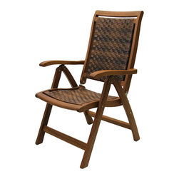 Outdoor Interiors - Eucalyptus Folding Armchair - Crafted from Chain-of-Custody certified eucalyptus from sustainable forests, this weather-resistant folding arm chair adds natural beauty to your patio.   Weight capacity: 250 lbs. 20'' W x 39.5'' H x 24'' D Eucalyptus / resin Imported