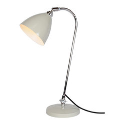 Original BTC - Original BTC - Task Solo Desk Lamp in Putty Grey - Lights that can be moved, angled or adjusted bring greater flexibility and creative scope. The classic British Task range of lights in polished aluminum, red, olive green, putty, white or black-painted aluminium focuses a high level of illumination directly where it is needed. Stable, flexible and solid, shades can be angled and swiveled, to throw either a concentrated pool of light or illuminate a larger area. Accepts 1 x 60watt Max Incandescent E26/E27 or CFL bulb. In-line switch.