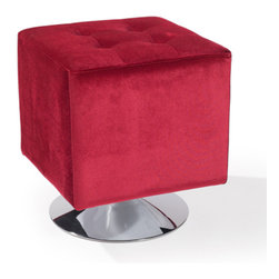 Armen Living - Pica Square Ottoman, Red - Unmistakably posh button-tufting detail enhances the distinguished silhouette of this updated classic.