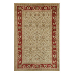 """Rugs America - Traditional Peshawar 5'3""""x7'10"""" Rectangle Trellis Cream Red Area Rug - The Peshawar area rug Collection offers an affordable assortment of Traditional stylings. Peshawar features a blend of natural Trellis Cream Brown color. Machine Made of Heat-Set Poly the Peshawar Collection is an intriguing compliment to any decor."""