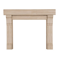 "Pearl Mantel - The Cumberland Fireplace Surround, Unfinished, 48"" - Au natural. This rustic fireplace surround proudly exhibits the natural warmth and beauty of its hardwood exterior. And framed in such simple elegance, your fireplace need never feel naked again."